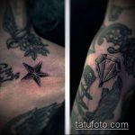Фото тату звезды на ключице №241 - крутой вариант рисунка, который легко можно использовать для доработки и нанесения как тату звезды на ключице ближе к шее