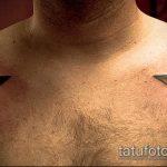 Фото тату звезды на ключице №660 - крутой вариант рисунка, который хорошо можно использовать для доработки и нанесения как тату звезды на ключицах у девушек