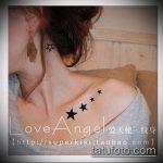Фото тату звезды на ключице №350 - классный вариант рисунка, который хорошо можно использовать для доработки и нанесения как тату звезды на ключицах у девушек