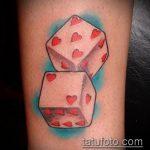 Фото тату игральные кости №642 - прикольный вариант рисунка, который хорошо можно использовать для переделки и нанесения как тату игральные кости на запястье