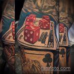 Фото тату игральные кости №431 - уникальный вариант рисунка, который легко можно использовать для переработки и нанесения как тату игральные кости на лице