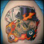 Фото тату игральные кости №790 - прикольный вариант рисунка, который удачно можно использовать для преобразования и нанесения как тату игральные кости и карты