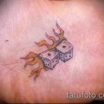 Фото тату игральные кости №246 - уникальный вариант рисунка, который хорошо можно использовать для преобразования и нанесения как тату игральные кости на шее