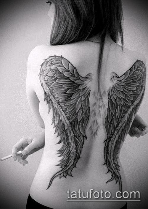 Девушки с тату крылья ангела