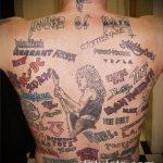 тату на спине №653 - уникальный вариант рисунка, который легко можно использовать для переделки и нанесения как тату на спине надписи