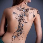 тату на спине №103 - крутой вариант рисунка, который успешно можно использовать для доработки и нанесения как тату на спине абстракция