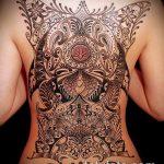 тату на спине №429 - уникальный вариант рисунка, который удачно можно использовать для преобразования и нанесения как тату на спине цветы