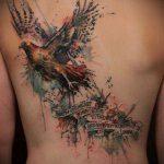 тату на спине №407 - уникальный вариант рисунка, который хорошо можно использовать для переделки и нанесения как тату на спине абстракция