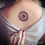 тату на спине №689 - крутой вариант рисунка, который легко можно использовать для доработки и нанесения как тату на спине девушка