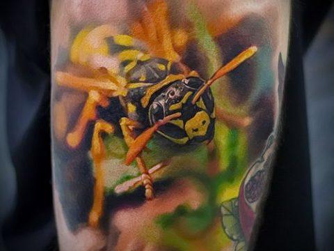 Фото тату оса насекомое - мехенди - 12062017 - пример - 011 Tatu wasp insect