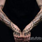черное тату №763 - крутой вариант рисунка, который успешно можно использовать для преобразования и нанесения как черное тату на руке мужские