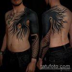 черное тату №478 - уникальный вариант рисунка, который хорошо можно использовать для доработки и нанесения как черное тату на плече