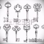 Эскиз для татуировки ключ и замок №987 - интересный вариант рисунка, который хорошо можно использовать для переделки и нанесения как тату замок и ключ