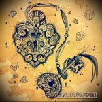 Эскиз для татуировки ключ и замок №532 - интересный вариант рисунка, который хорошо можно использовать для преобразования и нанесения как тату ключ и замок для пары
