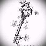 Эскиз для татуировки ключ и замок №331 - прикольный вариант рисунка, который легко можно использовать для переделки и нанесения как тату ключ и замок для пары