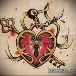 Эскиз для татуировки ключ и замок №378 - достойный вариант рисунка, который удачно можно использовать для переделки и нанесения как тату ключ и замок для пары