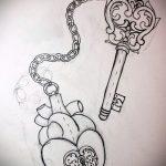Эскиз для татуировки ключ и замок №453 - крутой вариант рисунка, который легко можно использовать для преобразования и нанесения как тату ключ и замок для пары