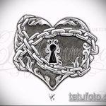 Эскиз для татуировки ключ и замок №5 - прикольный вариант рисунка, который успешно можно использовать для преобразования и нанесения как тату замок и ключ