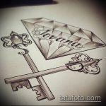 Эскиз для татуировки ключ и замок №145 - крутой вариант рисунка, который удачно можно использовать для преобразования и нанесения как тату замок и ключ парные