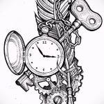 Эскиз для татуировки ключ и замок №834 - уникальный вариант рисунка, который успешно можно использовать для доработки и нанесения как тату ключ и замок для пары