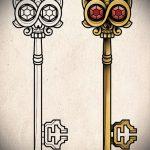 Эскиз для татуировки ключ и замок №305 - интересный вариант рисунка, который хорошо можно использовать для преобразования и нанесения как тату замок и ключ парные