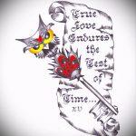 Эскиз для татуировки ключ и замок №829 - крутой вариант рисунка, который легко можно использовать для доработки и нанесения как тату замок и ключ