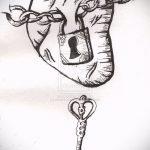 Эскиз для татуировки ключ и замок №888 - крутой вариант рисунка, который успешно можно использовать для доработки и нанесения как тату замок и ключ