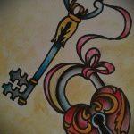 Эскиз для татуировки ключ и замок №405 - крутой вариант рисунка, который успешно можно использовать для доработки и нанесения как тату замок и ключ