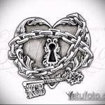 Эскиз для татуировки ключ и замок №385 - интересный вариант рисунка, который удачно можно использовать для переделки и нанесения как тату замок и ключ