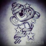 Эскиз для татуировки ключ и замок №848 - классный вариант рисунка, который легко можно использовать для переделки и нанесения как тату ключ и замок для пары