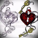 Эскиз для татуировки ключ и замок №746 - прикольный вариант рисунка, который удачно можно использовать для переработки и нанесения как тату ключ и замок для пары