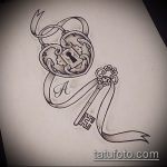 Эскиз для татуировки ключ и замок №253 - классный вариант рисунка, который хорошо можно использовать для преобразования и нанесения как тату замок и ключ парные