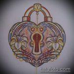 Эскиз для татуировки ключ и замок №317 - интересный вариант рисунка, который легко можно использовать для доработки и нанесения как тату замок и ключ парные