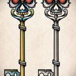 Эскиз для татуировки ключ и замок №523 - крутой вариант рисунка, который легко можно использовать для переделки и нанесения как тату замок и ключ