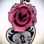 Эскиз для татуировки ключ и замок №731 - интересный вариант рисунка, который успешно можно использовать для переработки и нанесения как тату замок и ключ парные