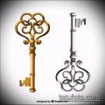 Эскиз для татуировки ключ и замок №603 - крутой вариант рисунка, который легко можно использовать для переработки и нанесения как тату ключ и замок для пары