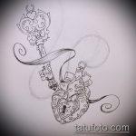 Эскиз для татуировки ключ и замок №927 - классный вариант рисунка, который удачно можно использовать для доработки и нанесения как тату замок и ключ