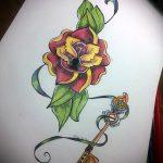 Эскиз для татуировки ключ и замок №528 - крутой вариант рисунка, который удачно можно использовать для переработки и нанесения как тату замок и ключ