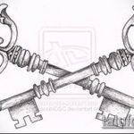 Эскиз для татуировки ключ и замок №416 - достойный вариант рисунка, который удачно можно использовать для преобразования и нанесения как тату замок и ключ парные
