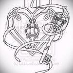 Эскиз для татуировки ключ и замок №378 - крутой вариант рисунка, который хорошо можно использовать для доработки и нанесения как тату замок и ключ