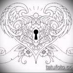 Эскиз для татуировки ключ и замок №604 - крутой вариант рисунка, который успешно можно использовать для переработки и нанесения как тату ключ и замок для пары