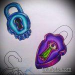 Эскиз для татуировки ключ и замок №518 - интересный вариант рисунка, который успешно можно использовать для доработки и нанесения как тату ключ и замок для пары