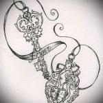 Эскиз для татуировки ключ и замок №883 - эксклюзивный вариант рисунка, который легко можно использовать для доработки и нанесения как тату замок и ключ парные