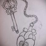 Эскиз для татуировки ключ и замок №420 - классный вариант рисунка, который хорошо можно использовать для переделки и нанесения как тату замок и ключ парные