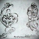 Эскиз для татуировки ключ и замок №601 - классный вариант рисунка, который удачно можно использовать для переделки и нанесения как тату замок и ключ парные