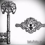 Эскиз для татуировки ключ и замок №160 - прикольный вариант рисунка, который успешно можно использовать для доработки и нанесения как тату ключ и замок для пары