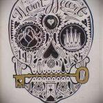 Эскиз для татуировки ключ и замок №482 - интересный вариант рисунка, который легко можно использовать для доработки и нанесения как тату замок и ключ парные