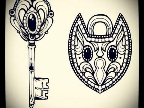 Эскиз для татуировки ключ и замок №96 - уникальный вариант рисунка, который легко можно использовать для доработки и нанесения как тату замок и ключ парные