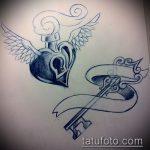 Эскиз для татуировки ключ и замок №56 - достойный вариант рисунка, который успешно можно использовать для переработки и нанесения как тату замок и ключ