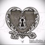 Эскиз для татуировки ключ и замок №756 - достойный вариант рисунка, который легко можно использовать для преобразования и нанесения как тату ключ и замок для пары